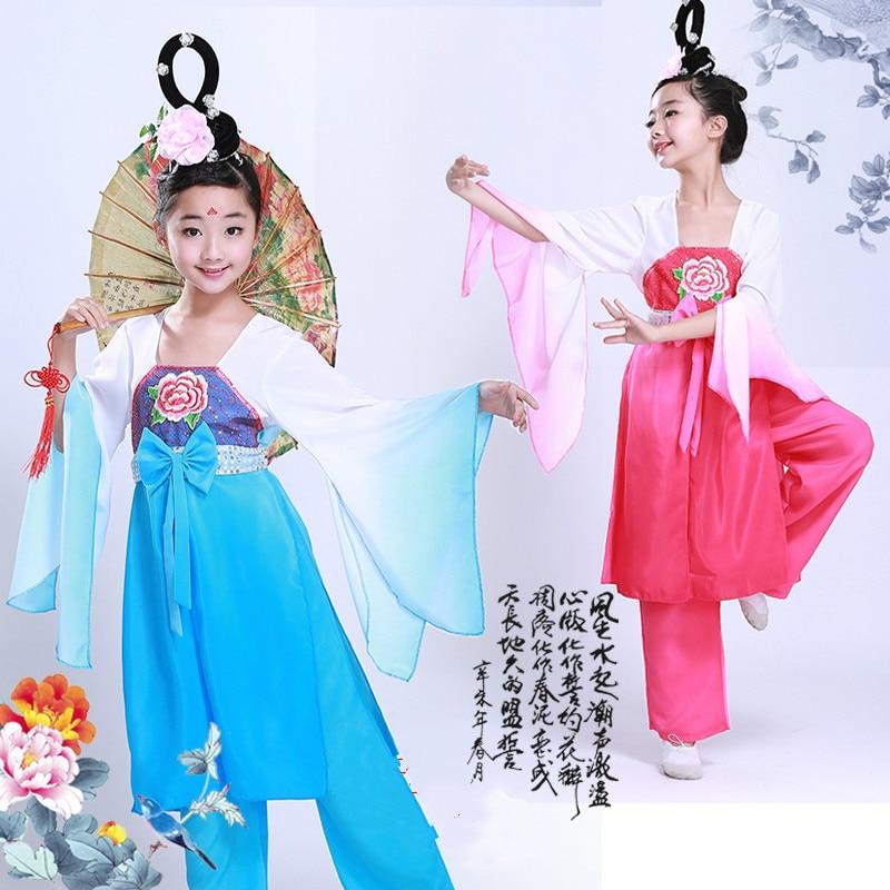 Otroške vezenine Gradient Color Kitajski kostumi narodnega plesa - Odrska in plesna oblačila