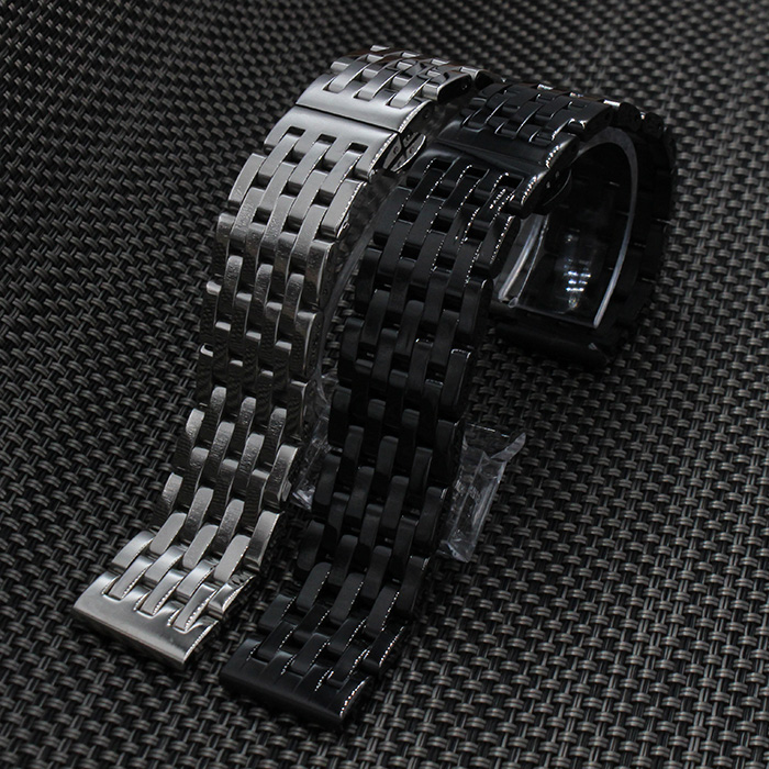 20mm 22mm Black New Mens Black Metal Watch Band Stainless Steel Bracelets For Smart Watch Samsung