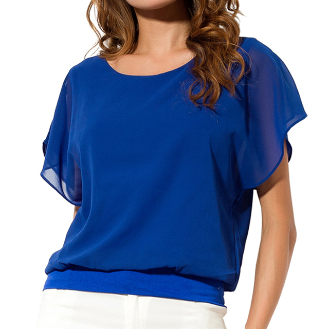 Plus Size Chiffon Short Sleeve Casual Tops