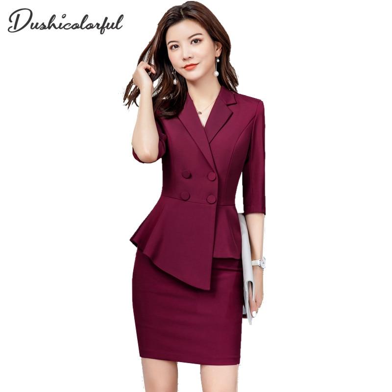 Red Skirt Suit 2 Pieces Set Fashion Business Women Suit Office Ladies Work Wear Uniform Interview Thin Blazer Hlaf Sleeve Top