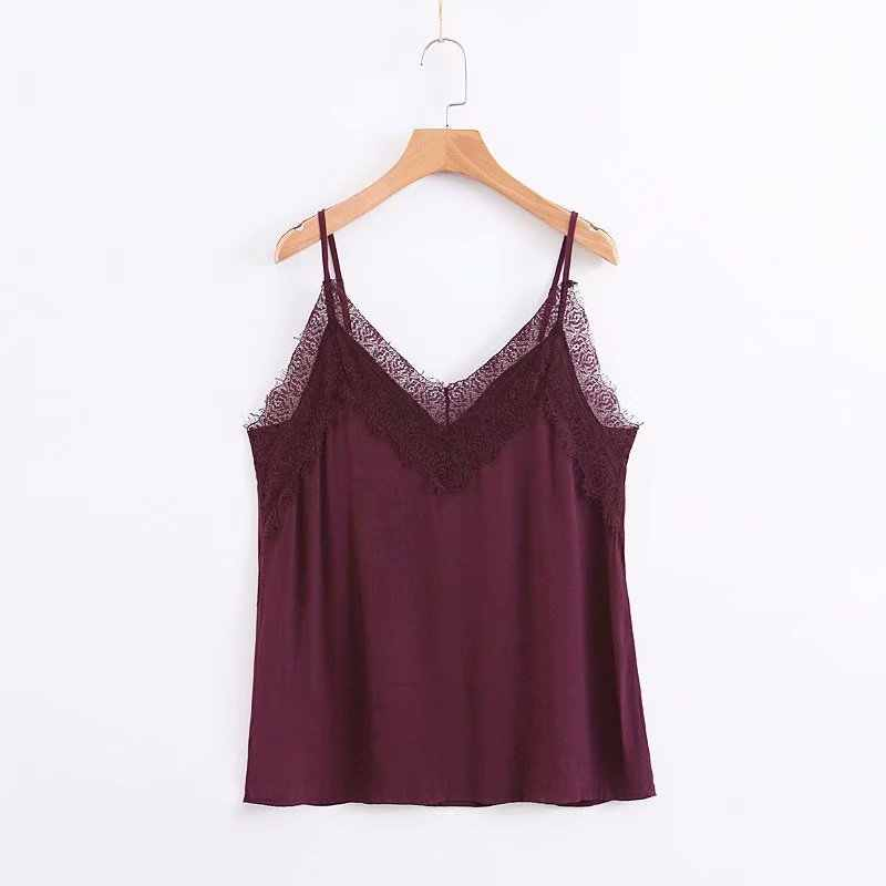 Solid Color Sexy Tank Tops Women Fashion Sleeveless Lace V Neck Tank Tops Women Elegant Slim Tops Female Ladies EU03