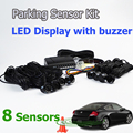 Car LED Parking Sensor Kit 8 Sensors 22mm Backlight Display Reverse Backup Radar Monitor System 12V Free Shipping