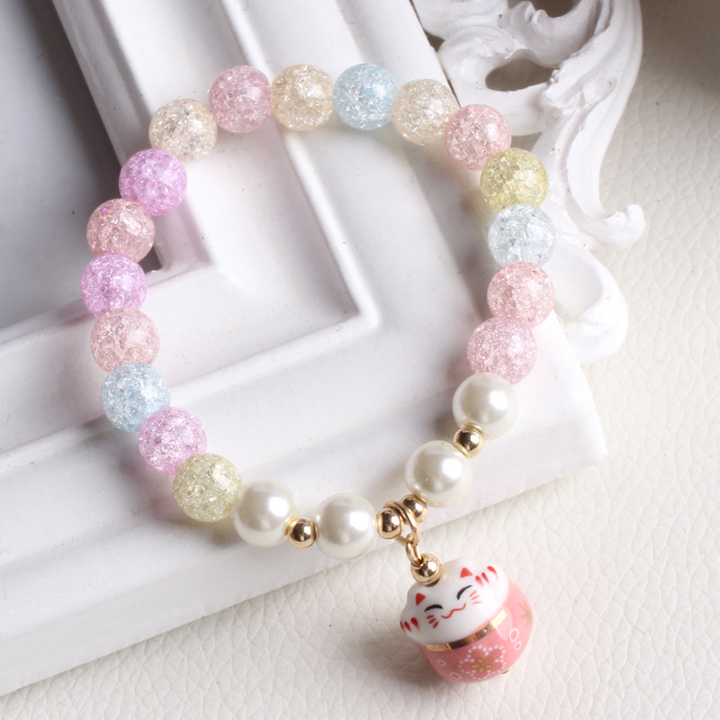 Ice Crack Crystal Style Charm Bracelet with A Fortune Lucky Cat Pend Colorful Yoga Bracelet Rainbow Crystal Beads Bracelet Jew in Charm Bracelets from Jewelry Accessories
