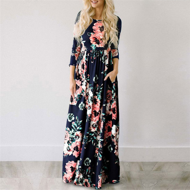 ELSVIOS Women Floral Print Three Quarter Sleeve Boho Maxi Dress Summer Beach Long Dresses Parent Child Plus Size Dress Vestidos