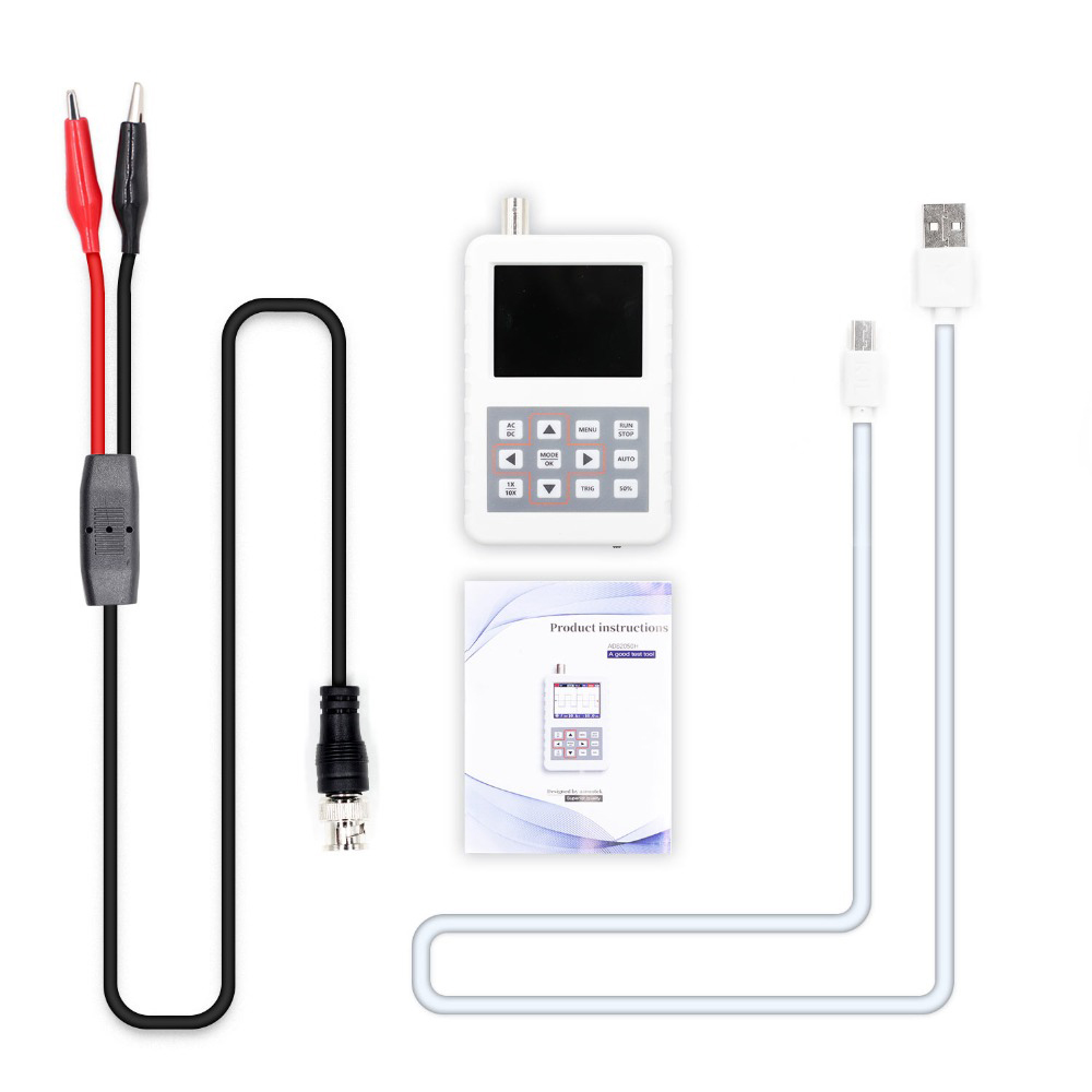 Mini Digital Oscilloscope 2.4inches Color Display Handheld Oscilloscope With 5MHz Bandwidth USB Cable And Probe For OscilloscopeMini Digital Oscilloscope 2.4inches Color Display Handheld Oscilloscope With 5MHz Bandwidth USB Cable And Probe For Oscilloscope