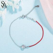 цена SA SILVERAGE 925 Sterling Silver Charm Bracelets & Bangles for Women Fine Jewelry Rhinestones Silver Bangle Bracelet Pulseiras онлайн в 2017 году