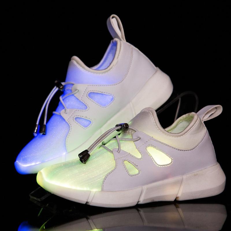 цены KINE PANDA USB Charger Glowing Sneakers Led Children Lighting Shoes Kids Teens Boys/ Girls illuminated Luminous Sneaker 25-35