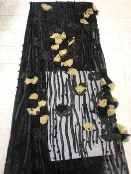 3d Flowers French Nigerian Laces Fabrics High Quality Tulle African Laces Fabric Wedding African French Tulle Lace TS7633