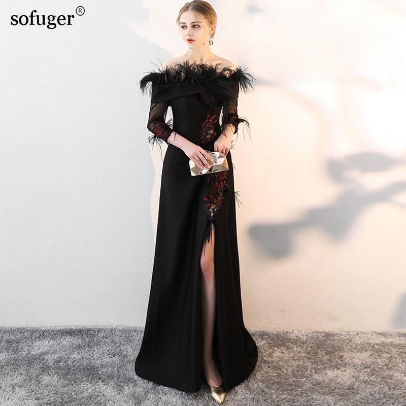 High Slit   Evening     Dress   Elegant Black Long   Dress   Feathers Embroidery vestido de festa longo Black Sexy robe longue Plus Size