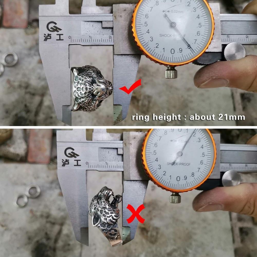 LINSION Leopard Panther Ring 925 Sterling Silver Details Mens Biker Ring TA151