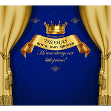 Custom Vinyl Photography Background Royal Gold Crown Prince Blue Damask Baby Birthday Children Backdrops for Photo Studio PA-010 funnytree prince photography background baby shower royal blue crown damask birthday backdrop photocall photo studio printed