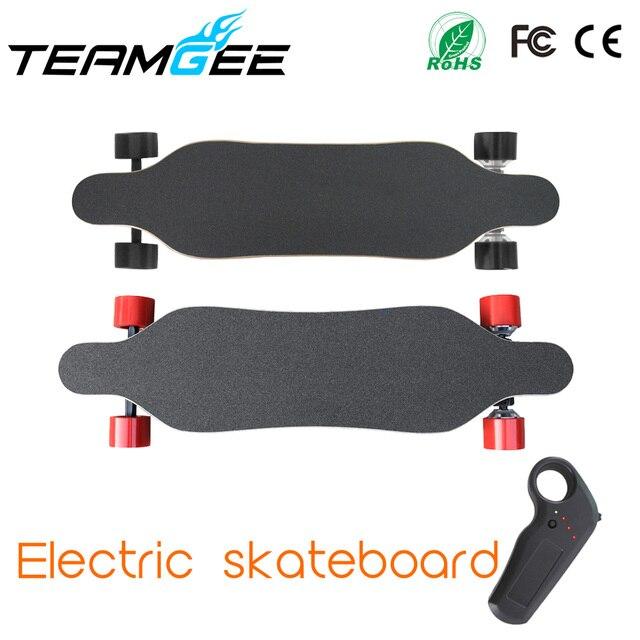 Skateboard listrik Dengan Dual Brushless 70mm Hub Motor Dengan Remote Kontrol Jarak 14 M Listrik Longboard Hoverboard