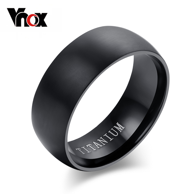 100% Titanium Rings For Men 8mm Cool Black Men' Ring Jewelry Wedding Engagement