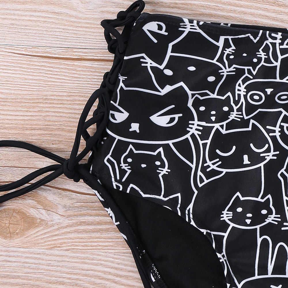 Wisalo/большие размеры 5XL, пляжная одежда с принтом кота из мультфильма, комплект повседневной одежды с бретелькой на шее, без рукавов, комплект из двух предметов, пляжная одежда, летний праздничный комплект
