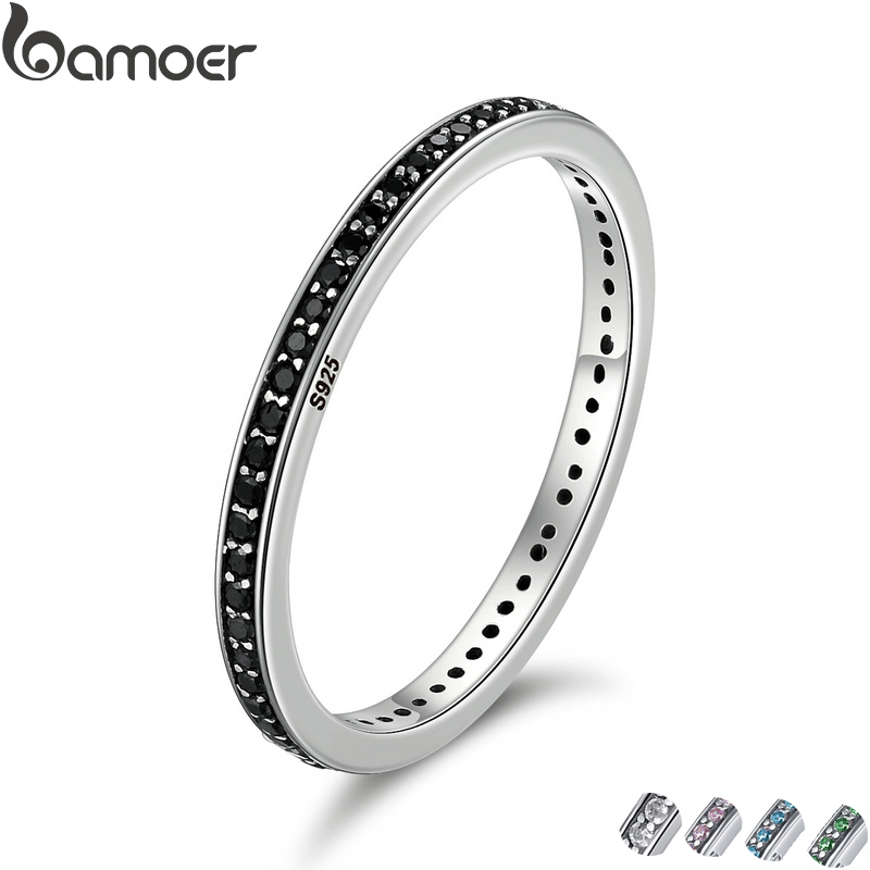 2018 Mother's Day DEALS Authentic 925 Sterling Silver 2 Colors Dazzling CZ Stackable Rings for Women Wedding Jewelry SCR114