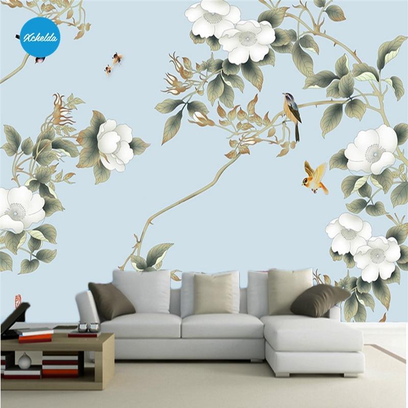 XCHELDA Custom 3D Wallpaper Design White Peony Blue Background Photo Kitchen Bedroom Living Room Wall Murals Papel De Parede