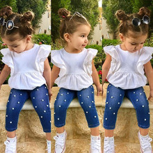 Toddler Kids Baby Girls Outfits Solid T-shirt Tops+Pearl Denim Pants Jeans Set cute toddler girls kids off shoulder blouse tops denim pants jeans headbands 3pcs outfits set clothes