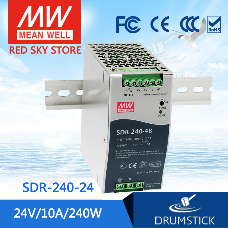 MEAN WELL SDR-240-24 24V 10A SDR-240 24V 240W Single Output Industrial DIN RAIL with PFC Function mean well original sdr 480p 24 24v 20a meanwell sdr 480p 24v 480w industrial din rail with pfc and parallel function
