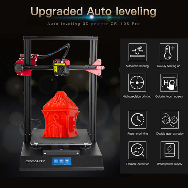 CR-10S Pro 4.3 Inci LCD Sentuh Meratakan Auto Sensor Printer Resume Printing Filament Deteksi Funtion Meanwell Power Creality 3D