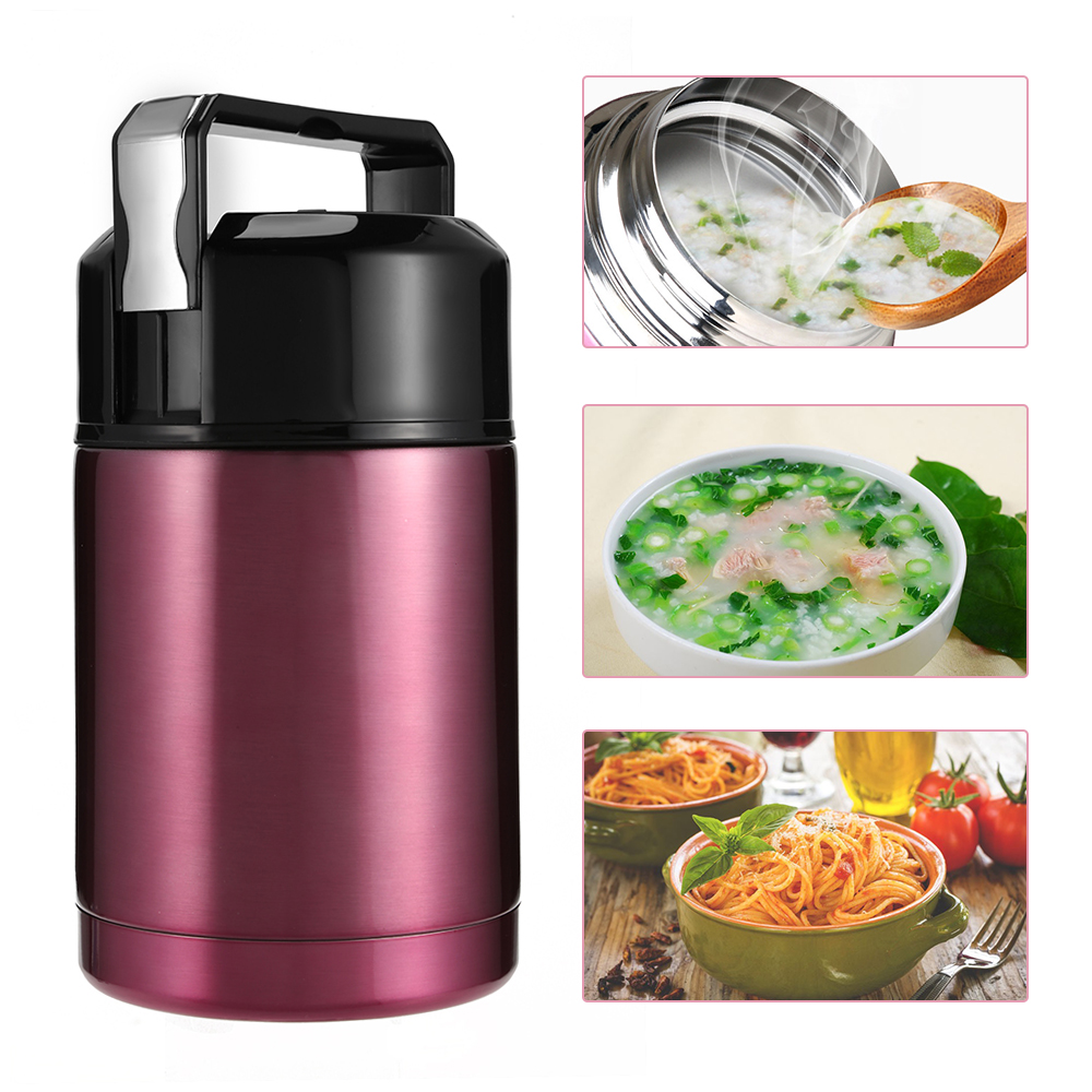 NEWEST 800ML/1000ML Thermos Bottle Food Container Inox Folding Spoon Cute Flask Bring Bag Kids Lunch Box Stainless Steel Bento