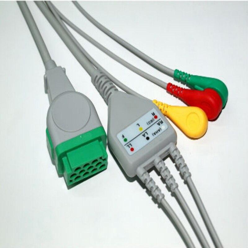 Бесплатная доставка один кусок 3 свинца ЭКГ/ЭКГ кабель с Leadwire для GE Marquette GE Dash Pro4000, DASH PRO 3000, Dash PRO 2000, IEC