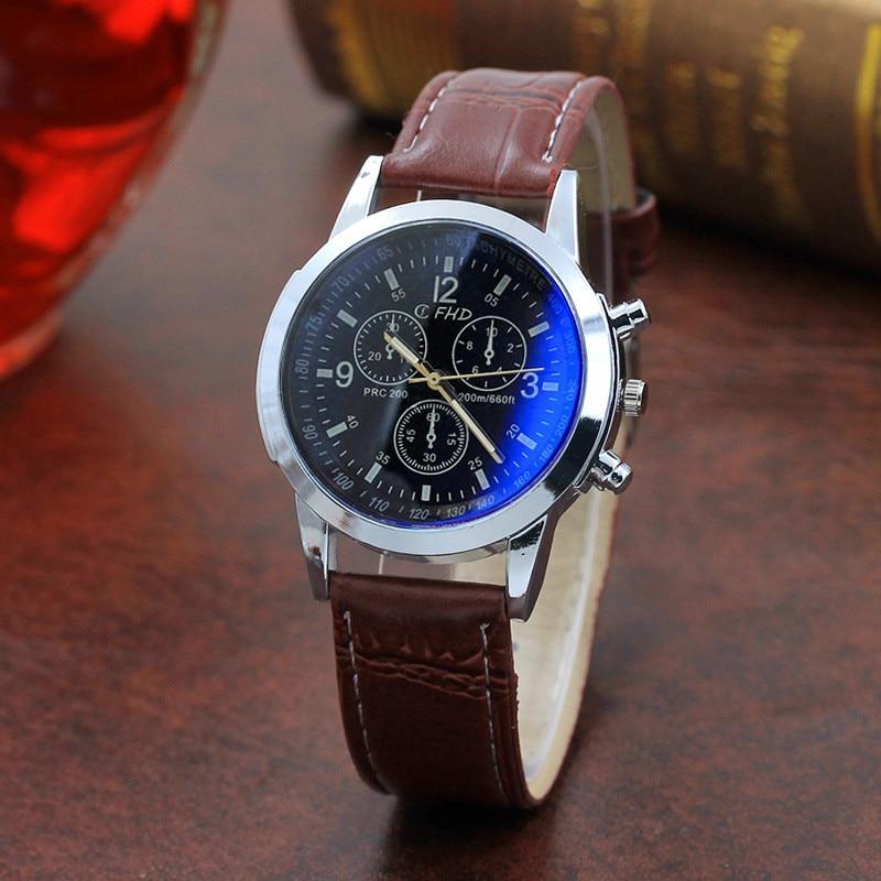 HOT SALE 2019 Top Brand Luxury Fashion Faux Leather Watches Mens Blue Ray Glass Quartz Analog Watch Wristwatch Clock Dropship