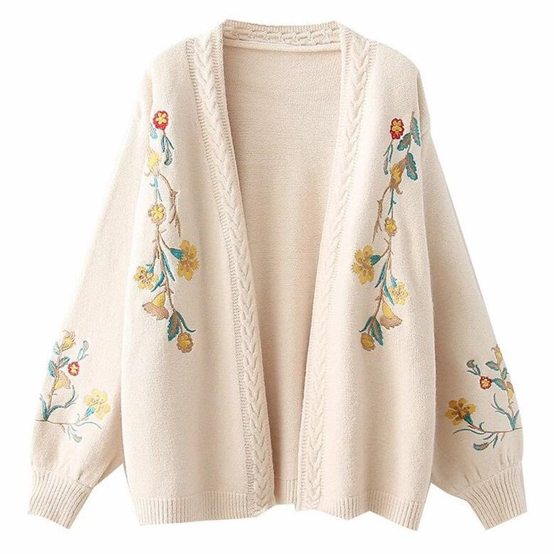 Oversized blue Embroidered Short pink 2018 Shawl Flora Autumn Beige Cardigan With Female V Small Fashion Knit Coats Woman Sweater neck qpwgWUaWR