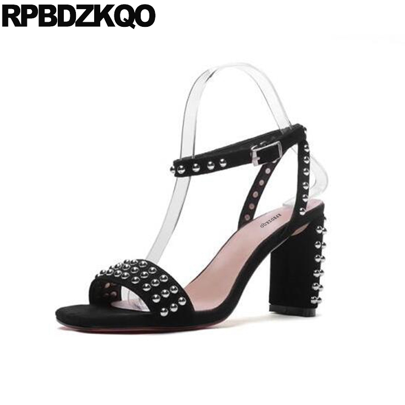 Rivet Sandals Genuine Leather 2018 Luxury Summer High Heels Designer Ankle Strap Pumps Black Rock Stud Shoes Chunky Thick Women double ankle strap chunky heels black