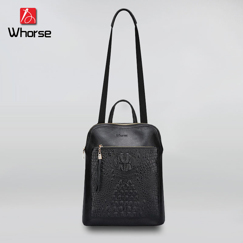 [WHORSE] Brand High Quality Trendy Crocodile Pattern Genuine Leather Women Shoulder Bag Tassel Women Messenger Bags Black WB0842 стоимость