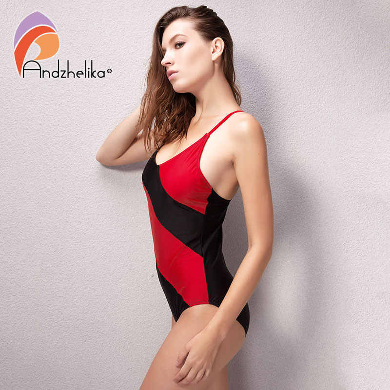 97cd64d7472 ... Andzhelika One Piece Swimsuit Women Sexy Mesh Swimwear Black Red  Patchwork Beach Swim Suit Sports Bodysuit ...