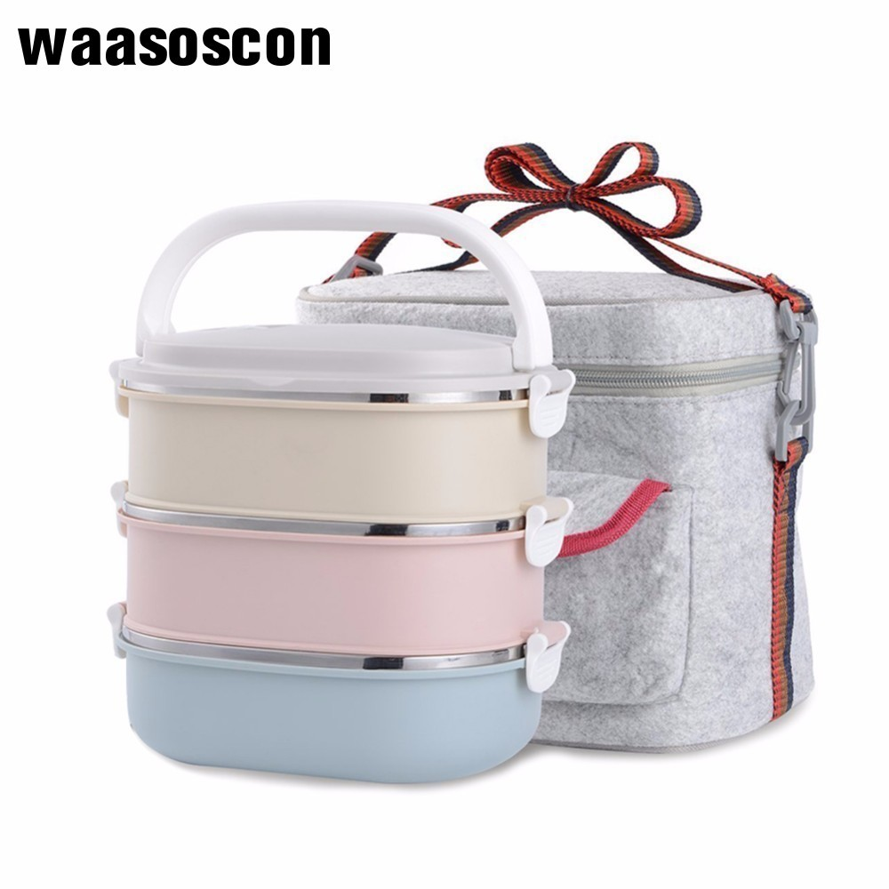 Stainless Steel Square Lunch Box Lock Container Bag Heat