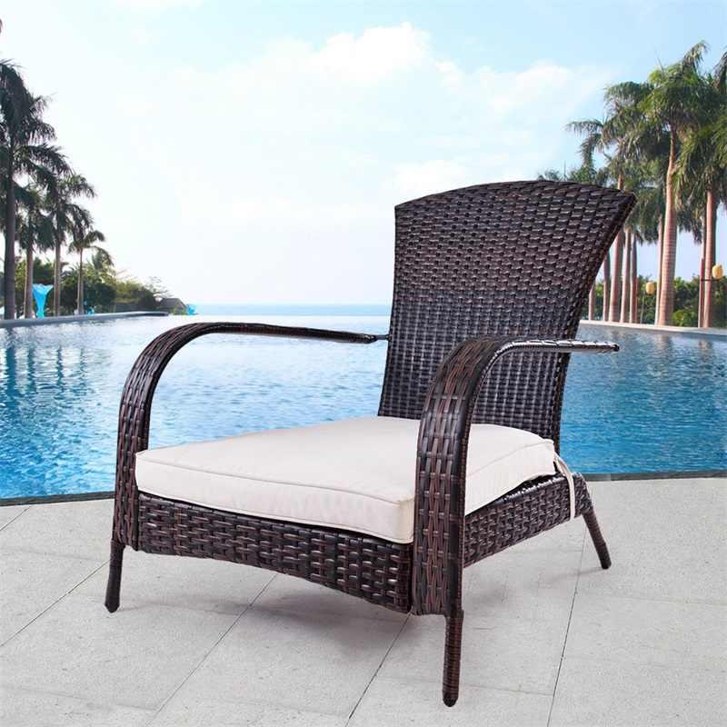 Adirondack Chair Kussens.Outdoor Wicker Rattan Porch Deck Adirondack Chair With Cushion Patio