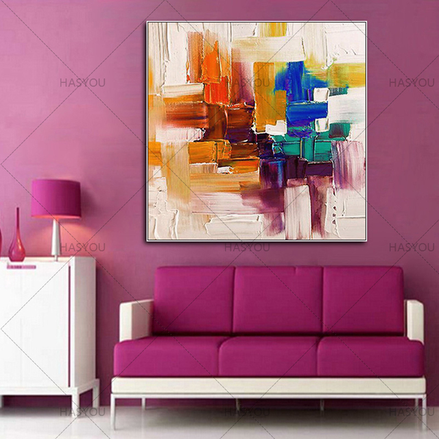 HASYOU Mix color Abstract painting Orange white and blue painting ...