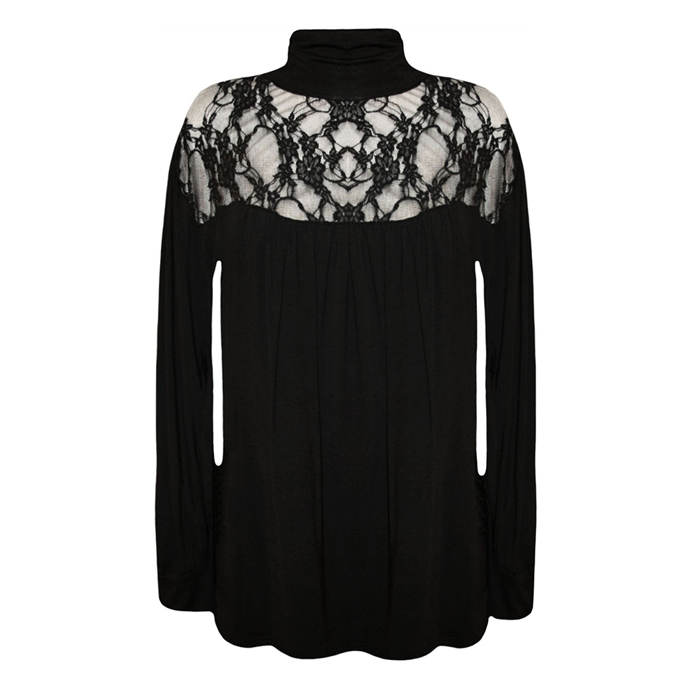 Elegant Lace Long Sleeve Shirt - Black New Lace High Neck Blouse Long-sleeved Black Net Yarn Stitching Shirt