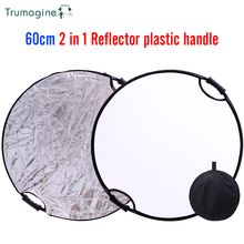 60CM 24 Silver/White Portable Collapsible Light Round Reflector For Photography Studio Accessories With Handle Bar Free Ship