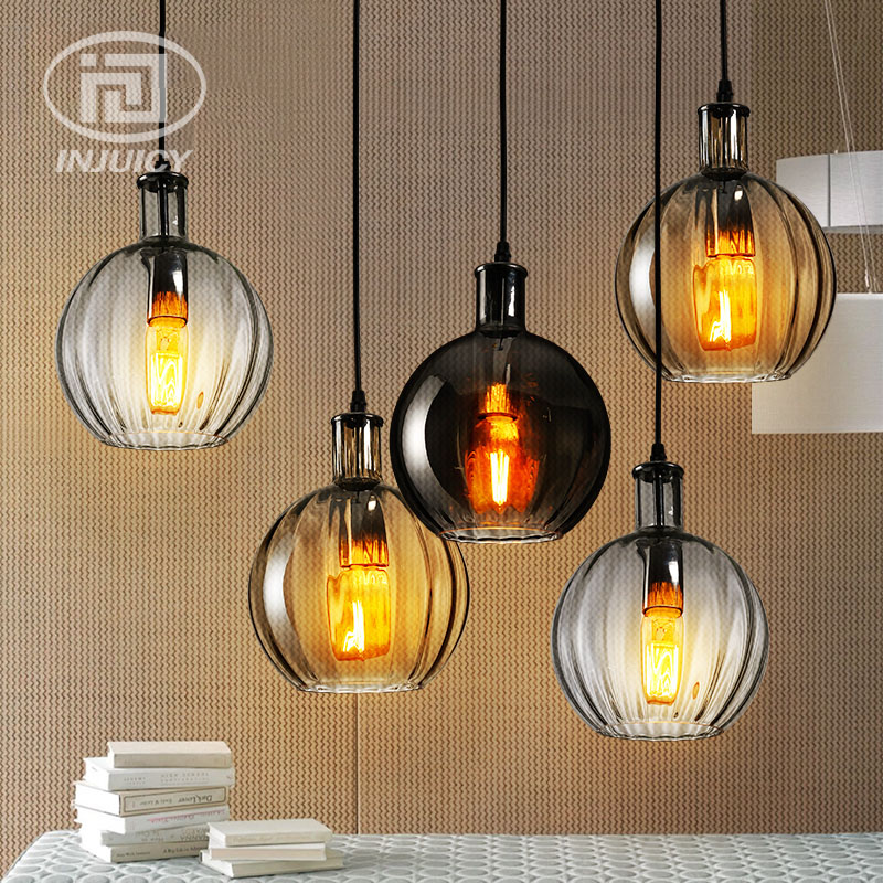 Loft Vintage Nordic Simple Retro Colorful Glass Droplight Bar Cafe Restaurant Round Ball Glass Pendant Lamp Decorative Lighting new loft vintage iron pendant light industrial lighting glass guard design bar cafe restaurant cage pendant lamp hanging lights
