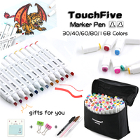 TOUCHFIVE 30 40 60 80 168 Colors Graphic Marker Pen Set Sketch Touch Art Markers Dual