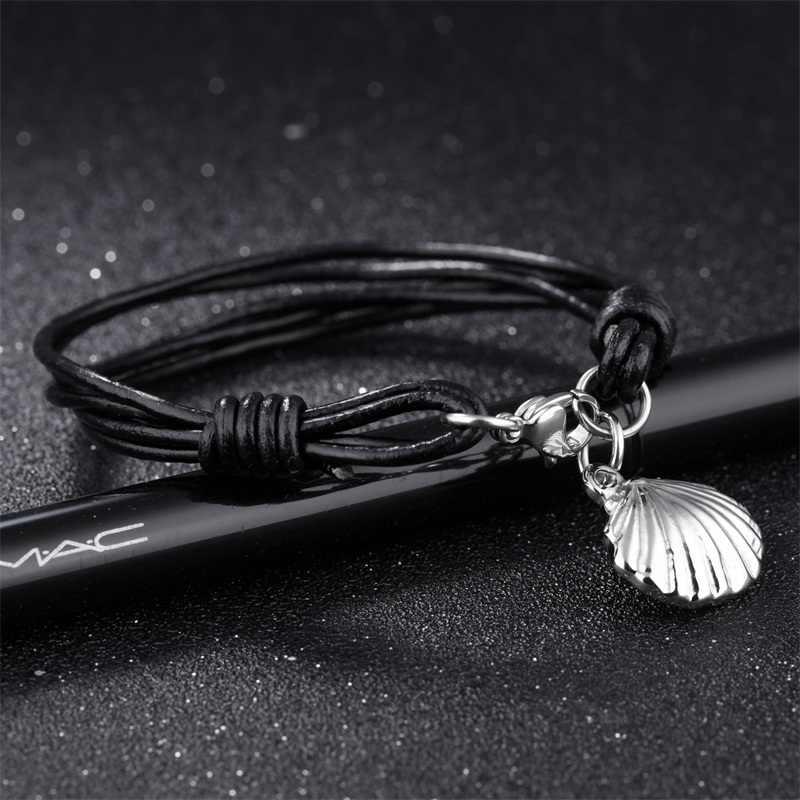 AZIZ BEKKAOUI prawdziwej skóry bransoletka dla mężczyzn Punk krzyż lina ze stali nierdzewnej łańcuch bransoletki męskie serce wisiorek bransoletka prezent