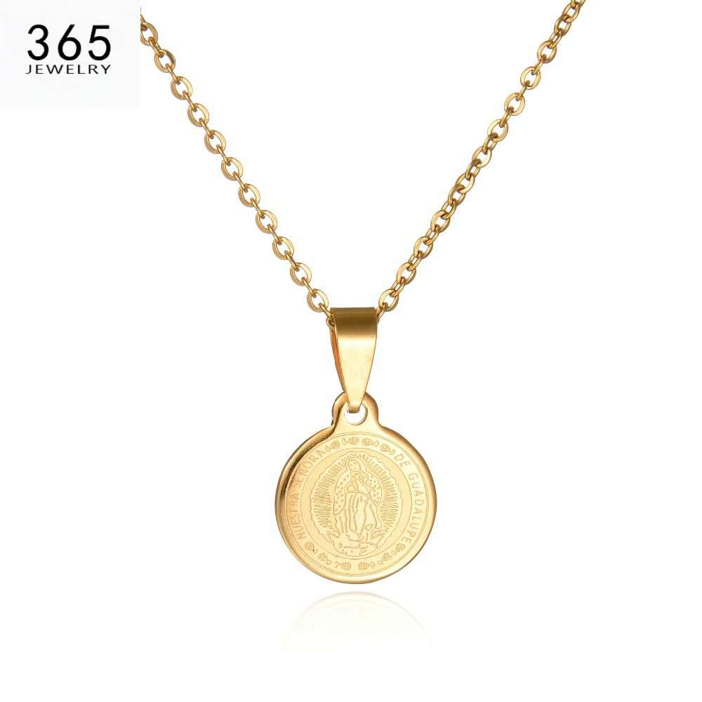 New Body Coin Necklace Gold Chain Men Pendant Necklace Round Stainless Steel Brand Jewelry For Women