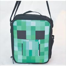 2017 Hight quality cartoon minecraft messenger lunch bag for teenagers anime cross body handbag minecraft lunch box