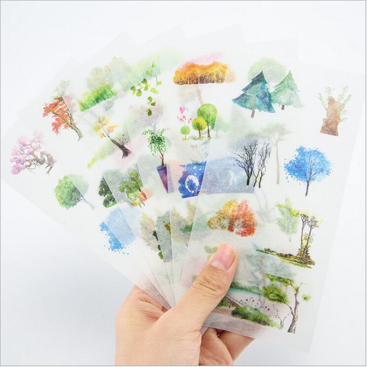 6 Pages/Pack Spring Plants Trees Flower Scenery Decorative Planner Stickers DIY Diary Scrapbooking Phone Index Seal Stickers