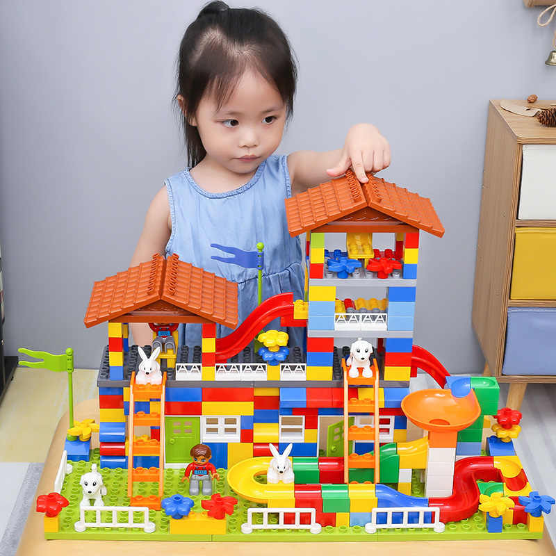 89 PCS DIY Colorful City House Roof Big Particle Building Blocks Castle Educational Toy For Children Compatible Brand duploed