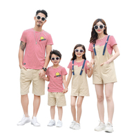 Family Pack Summer Father Son Matching Clothes Mom Daughter Dress Stripe Letter T shirt Loose Pants / Overalls Skirt Set CK960