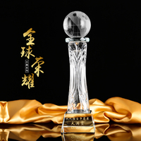 Free shipping global glory crystal trophy for decoration souvenir gift 28*7cm
