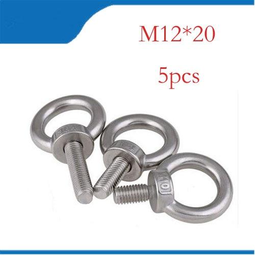 все цены на M12*20 304 Stainless Steel Lifting Eye Bolts Round Ring Hook Bolt 5pcs