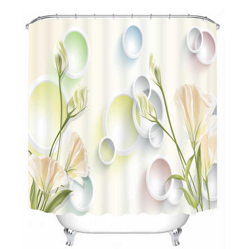 جميلة الزهور نمط ثلاثية الأبعاد دش الستار البوليستر النسيج ستارة دش مقاوم للماء صديقة للبيئة الحمام الستار المنزل