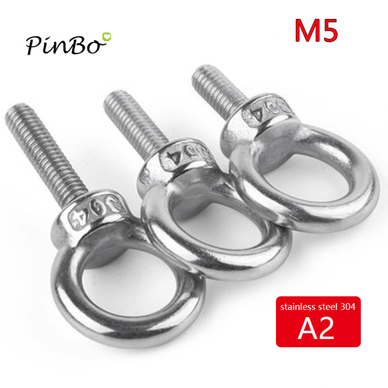 uxcell 5 Pcs M10x50mm Thread 25mm Inside Dia 42mm Outside Dia 304 Stainless Steel Lifting Eye Bolt