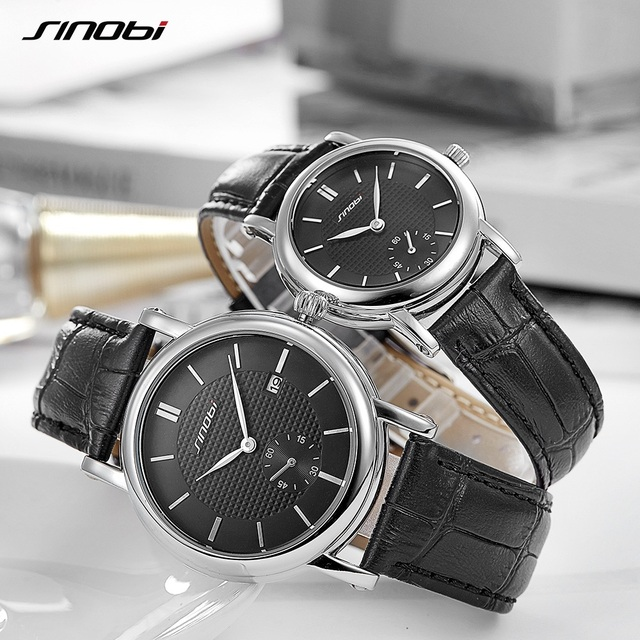 € 17.87 49% de DESCUENTO|Relojes de amante SINOBI marca superior reloj de pulsera de lujo reloj de pulsera de moda para hombre relojes de mujer reloj