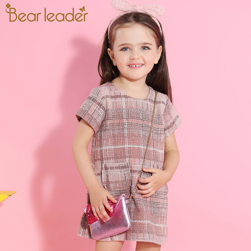 Bear Leader Girls Dress 2018 New Autumn Girls Clothes Classical Plaid Pocket Design Princess Dresses Children Clothing For 3-7Y humor bear 2018 girls dress children clothes autumn long sleeve flowers printing design princess dresses for 3 7