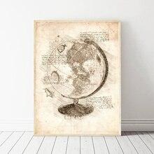 Da Vinci Inspired Sketches World Globe